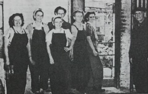 These ladies stepped in during World War II and worked in Field Fence at the mill. Mrs. William Milby; Miss Gladys Wilson; Mrs. Ed Sanders; Mrs. Helen Adair: Mrs. Leonard Michel; and Mrs. Margaret Murray. Jack Shierry is the man to the right.
